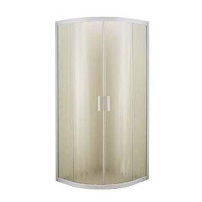 Immagine di Box doccia Giulia, profilo bianco, cristallo piumato, spessore 4 mm, maniglia bianca, 80x80x185