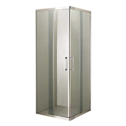 Immagine di Box doccia Giulia, profilo cromo lucido, cristallo fumè, spessore 4 mm, maniglia cromata, 69/79x69/79x185 cm