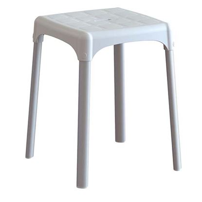 Immagine di Sgabello da bagno, seduta in tecnopolimeri, con finitura antiscivolo, forata, gambe in alluminio anodizzato