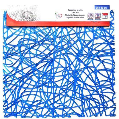 Immagine di Tappetino per interno lavello, modello intreccio blu,  320x300 mm