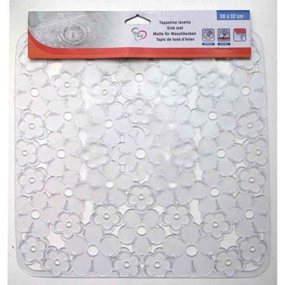 Immagine di Tappetino per interno lavello, modello fiori trasparente, 320x300 mm