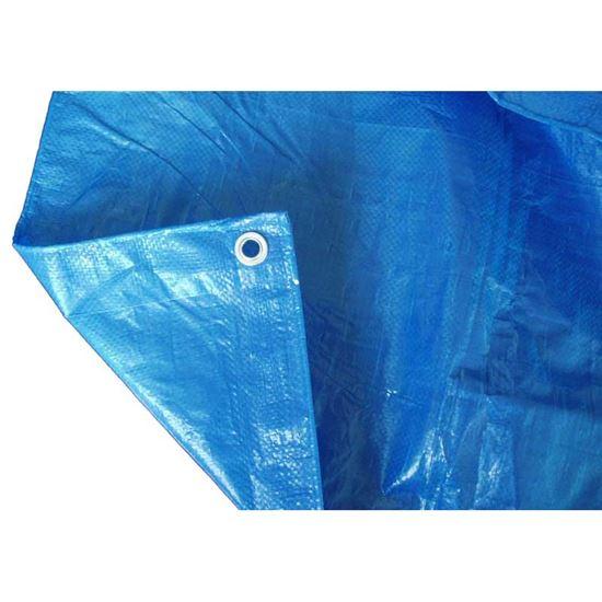 Immagine di Telo occhiellato, multiuso in polietilene, robusto e impermeabile, bordo rinforzato, colore blu, 90 gr/m², 6x10 mt