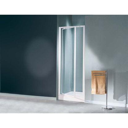 Immagine di Porta doccia Mediterraneo, battente, profilo bianco, acrilico, 69/73 cm