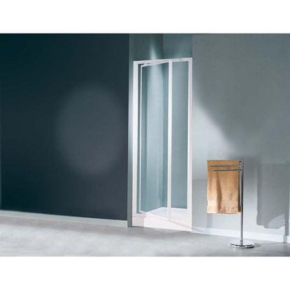 Immagine di Porta doccia Mediterraneo, battente, profilo bianco, cristallo stampato 3 mm, 69/73 cm