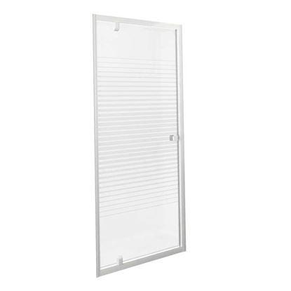 Immagine di Porta doccia Gala, battente, profilo alluminio bianco, cristallo temperato 4 mm, con serigrafia, 80xh185 cm