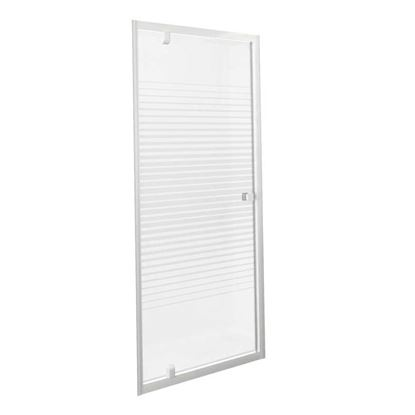 Immagine di Porta doccia Gala, battente, profilo alluminio bianco, cristallo temperato 4 mm, con serigrafia, 90xh185 cm