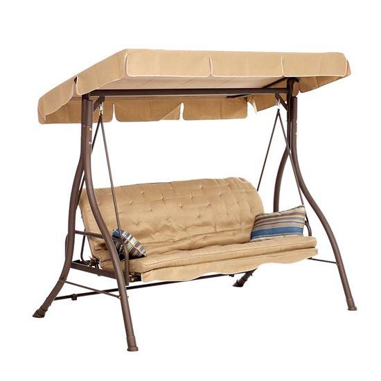 Immagine di Dondolo letto 3 posti Verline, struttura in ferro, colore tortora, schienale reclinabile, 98x139xh174 cm