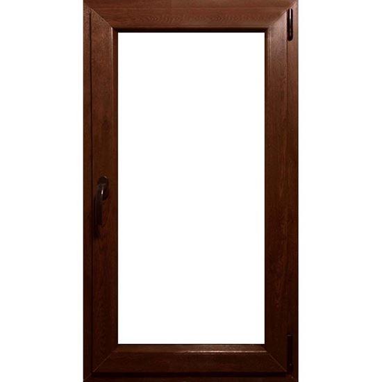 Immagine di Finestra pvc 1 anta 6 camere, doppio vetro, 80x140 cm, colore noce