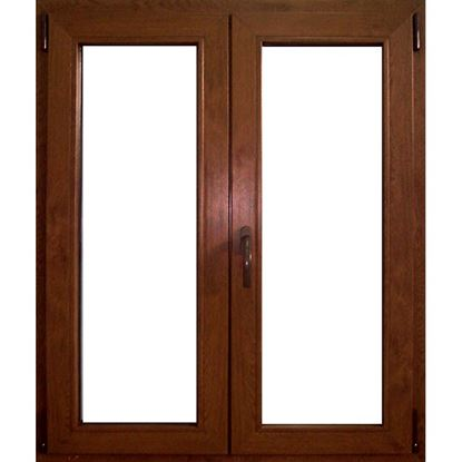 Immagine di Finestra pvc 2 ante 6 camere, doppio vetro, 120x120 cm, colore noce