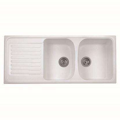 Immagine di Lavello Harmony, 2 vasche, con gocciolatoio, reversibile, materiale composito Ultraquartz, 116x50 cm, colore bianco