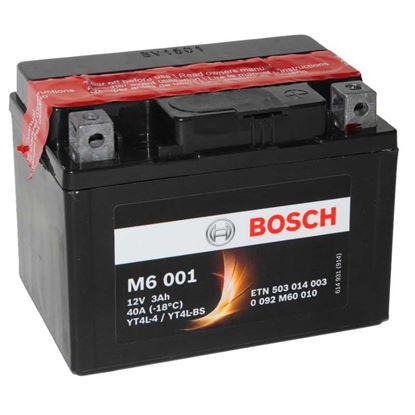 Immagine di Batteria moto Bosch, M6001, ermetica, con acido a corredo e dispositivo per il riempimento, 12 V-3 Ah, polarità dx