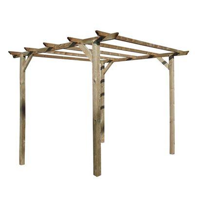 Immagine di Pergola 3x3 mt, in legno impregnato, 4 pali montanti 9x9x240 cm, kit ferramenta incluso
