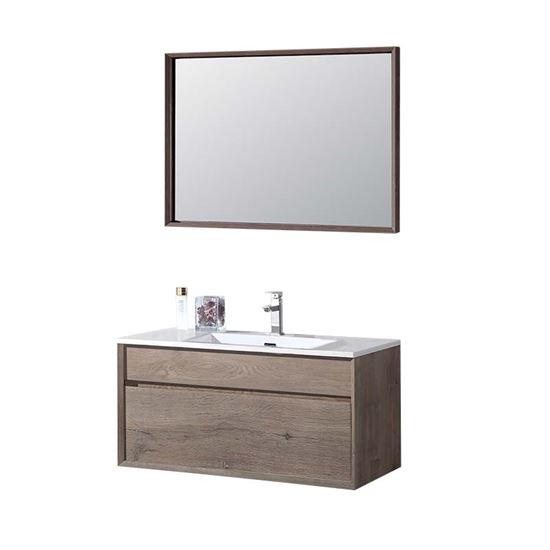 Immagine di Mobile bagno sospeso, piano in marmo artificiale, mobile 79x45,5x48 cm, specchio 75x70x6 cm